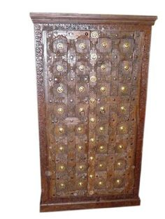 "Jaipur Cabinet, Antique Door Brass Rustic Armoire Furniture From India 67""x 35 ""X 21"" by Mogul Interior, http://www.amazon.com/dp/B00C2L1TBO/ref=cm_sw_r_pi_dp_YUKwrb1TVBAQG"