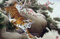 Tigers, handmade silk embroidery picture, Chinese Suzhou embroidery art, silk thread painting, needle art, Su Embroidery Studio