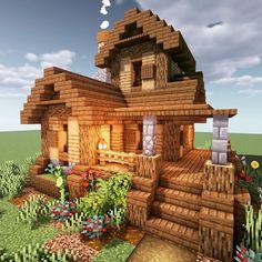 A small hillside house. A small hillside house. Villa Minecraft, Chalet Minecraft, Plans Minecraft, Architecture Minecraft, Casa Medieval Minecraft, Minecraft Farm, Minecraft Structures, Minecraft Houses Survival, Easy Minecraft Houses