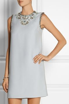 SHOULDER Miu Miu | Embellished cady mini dress | NET-A-PORTER.COM
