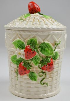 vintage six piece canister set, features a basketware motif, made of pottery, white base with strawberry motif, lidded top