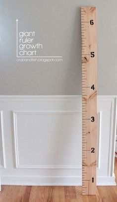 giant ruler growth chart #DIY | crab+fish l So easy! Got heights that I didn't have from pediatrician!