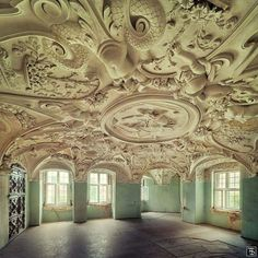 Beautiful ceiling of an abandoned chateau in Europe