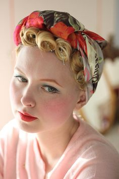 pincurls and scarf-turban. via Johanna Ost. #vintage #retro #hair