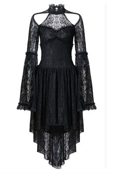 Gothic Jewelry Victorian Gothic lace sexy dress with cat ear shape on top - Gothic lace sexy dress with cat ear shape on top Sexy Lace Dress, Sexy Dresses, Dresses With Sleeves, Dress Up, Lace Sleeves, Gothic Lolita Dress, Goth Dress, Alternative Mode, Alternative Fashion
