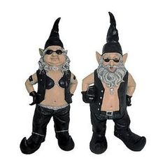 Gnoschitt and Gnofun Pair of Biker Garden Gnomes Statue Motorcycle Leather 15 Inch Figures by Toad Hollow. $59.99. Gnoschitt the biker garden gnome was Born to Ride! He and his wife, Gnofun, just can`t deal with the normal gnome life of gardening, fishing and chopping wood, so now they`re hell-bent for leather! Gnoschitt wears a leather vest, leather chaps and jeans, curved-toed boots and holds a saddlebag in one arm. Gnoschitt measures 14 1/2 inches tall, 6 3/4 inches wide...