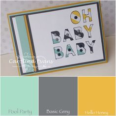 Use 'Little Letter Thinlits' to create your own sayings! Carolina Evans - Stampin' Up! Demonstrator, Melbourne Australia: Oh Baby Baby Card for #GDP003 #stampinup