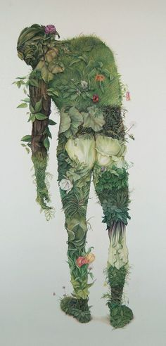 ✯ Green Man :: Canadian Artist Zachari Logan ✯  Another composition that involves nature growing from a figure. This is fascinating and I can use this idea for my zombie characters. In specific, I could have rotten fruit or toadstools growing from my zombies back.