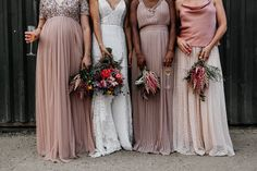 Kingshill Barn, Elmley Nature Reserve Wedding with Bright Flowers Decor Pink Wedding Decorations, Pink Wedding Colors, Pink Wedding Dresses, Pink Bridesmaid Dresses, Bridesmaids, Bright Flowers, Bridal Boutique, Wedding Designs, Dress Making