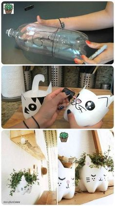 plastic bottle recycling – Bricolage et DIY – craftsfan Empty Plastic Bottles, Plastic Bottle Crafts, Recycled Bottles, Plastic Recycling, Diy Crafts Hacks, Diy Home Crafts, Crafts For Kids, Painted Flower Pots, Diy Garden Projects