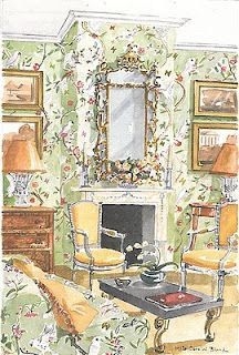 Mita Corsini Bland watercolor of a chinoiserie inspired room