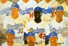 """""""The Rookie."""" Painting of Jackie Robinson with the Dodgers. Oil on canvas by Bart Forbes 1997."""