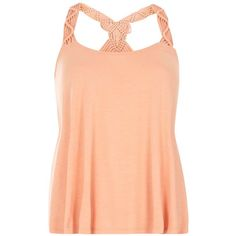 Dorothy Perkins Peach Macrame Vest ($29) ❤ liked on Polyvore featuring outerwear, vests, orange, vest waistcoat, red vest, crochet vest, red jersey and sleeveless jersey