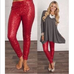 LASTBROOKLYN sequin leggings - RED Super fun & which girl isn't head over heels in love with sequins? Perfect for the holidays, NYE, a hot date or girls night out. ONLY SIZE SMALL AVAILABLE‼️NO TRADE‼️ Pants Leggings