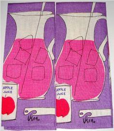 Apple juice, pitchers and ice vintage tea towels Kitchen Fabric, Kitchen Prints, Kitchen Linens, Neumann, Movie Decor, Retro Renovation, Vintage Tablecloths, All Things Purple, Printed Linen
