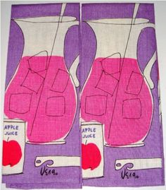 Apple juice, pitchers and ice, c1940-1960s, VERA (product of textile designers Vera Neumann and Walter Erhard), printed linen tea towels, NY, USA.