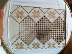 Yeni hardanger işim  Note to self:  this would be wonderful as a curtain as I use to see in Europe