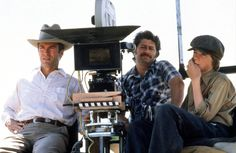HONKY TONK MAN - Star & Director Clint Eastwood sits on the sidelines with his actor/son Kyle Eastwood & Director of Photography Bruce Surtees