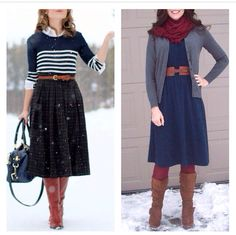 I love this longer A-line skirt belt and striped cardigan outfit it looks so put together and cozy! And then the A-line dress belt cardigan and scarf look so easy to do but so stinking cute. Love Them Both!!!! Perfect for meeting and field service