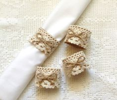 4 piece burlap and lace napikin rings  wedding or bridal shower decor