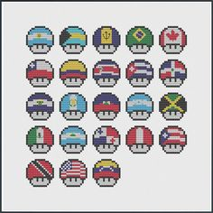 Mushrooms of the Americas - PDF Cross-Stitch Pattern - including USA, North America and South America
