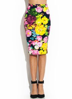 Painted Floral Midi Pencil Skirt