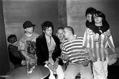 James Dean Bradfield and Richey Edwards of the Manic Street Preachers with members of the band First Offence (aka F'Off) in London, United Kingdom, 1991.