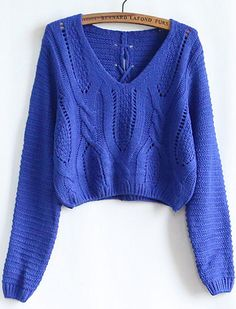 Meet us in the middle with this blue cable knit crop sweater ...
