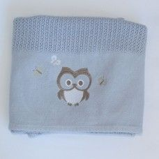 Owl Cellular Cotton Baby Blanket (blue). Available online at http://www.babesandkids.co.za