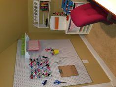 DIY craft room organization with a pin board. #diy #craftroom