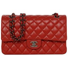 Preowned Chanel Red Caviar Medium  Double Flap Bag Shw ($5,200) ❤ liked on Polyvore featuring bags, handbags, shoulder bags, red, red leather shoulder bag, red shoulder bag, single strap handbag, red leather handbag and chanel handbags
