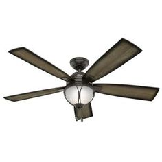 Hunter Sun Vista 54 in. LED Indoor/Outdoor Noble Bronze Ceiling Fan with Light Kit 59233 at The Home Depot - Mobile