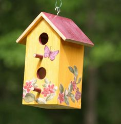 Tuscan Rustic Birdhouse Hand Painted with Butterfly by TuscanStyle, $30.00