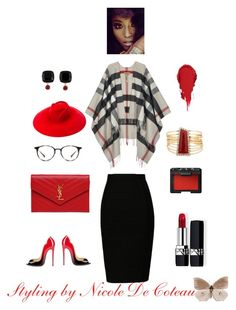 my personal styling by mznicola on Polyvore featuring Burberry, Yves Saint Laurent, Les Néréides, Gucci, Ray-Ban, Christian Dior and NARS Cosmetics