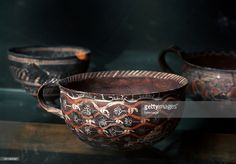 Kamares eggshell ware cup, from Phaistos. 2100-1650 BC. Minoan art. Heraklion Archaeological Museum Crete.