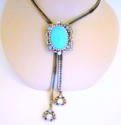 Vintage Turquoise Rhinestone Necklace Choker by nanascottagehouse, $36.00 This bolo style necklace looks great with jeans or your favorite little black dress.