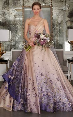 M'O Bridal & Wedding: One-Shoulder French Violet Ball Gown from Romona Keveza Bridal SS17 trunkshow http://fave.co/2dj83Uf