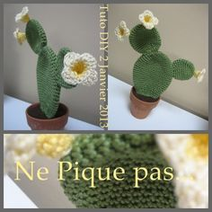A decorative idea? a new tutorial? Cactus En Crochet, Crochet Diy, Crochet Flowers, Lidia Crochet Tricot, Cactus Craft, Mini Cactus, Arts And Crafts, Diy Crafts, Diy Tutorial