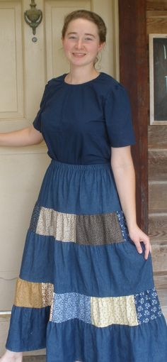 """PERFECT MODEST OUTFIT FOR """"THE OLD FASHION VINTAGE FARMER'S WIFE"""" ~~ Ringger Clothing Dresses Modest Wear, Modest Dresses, Modest Outfits, Day Dresses, Dress Outfits, Girl Outfits, Denim Maxi, Denim Skirts, Apostolic Fashion"""