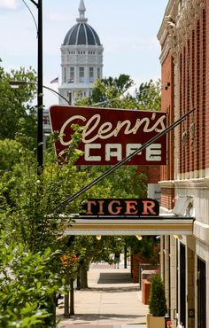 Great shot from the Missouri Division of Tourism - Jesse Hall, Glenn's Cafe, and The Tiger Hotel #ColumbiaMO