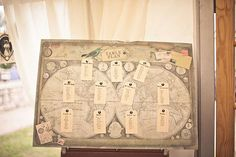 vintage map wedding table plan