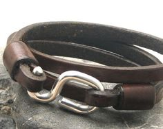 Men's leather bracelet Brown leather