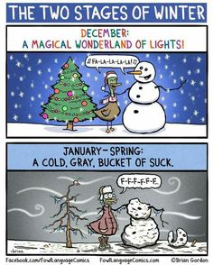 The two stages of winter! December: a Magical Wonderland of lights! January: a cold, gray, bucket of suck.... It can snow on Christmas Eve, Christmas Day and New Years Day & maybe New Years Day - but only on the yards and houses NOT the roads. That's all. In my dreams at least..... -_-