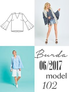 Bluzka uszyta z wykroju Burda 06/2017 model 102 Burda Patterns, Tommy Hilfiger, Ballet Skirt, Womens Fashion, Skirts, Blog, Coats, Tutu, Skirt