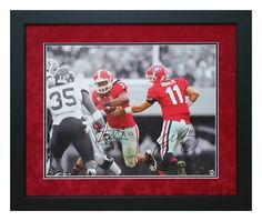 """#ToddGurley #AaronMurray autographed and custom framed """"theHandoff"""" photo. Perfect to hang in your office or man cave! #ManCaveDecor #Autographs #GiftsForHim #ChristmasGifts #FramedMemorablia"""