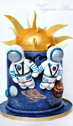 Space Themed Wedding Cake ~ two lovers in open space