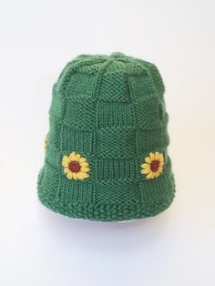 Child's Knit Green Hat-Winter With Embroidered Sunflowers-Basketweave-3-10 yrs.