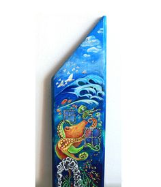 Ocean octopus and jellyfish acrylic painting on natural wood by LilyMokus on Etsy