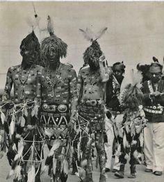 Navajo men and boys prepared to participate in a ceremony - 1945