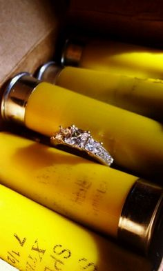 Wedding bells and shotgun shells - this would be so fitting for our wedding!
